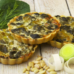 8 Individual Spinach and Leek Flan (Vegan and Gluten Free)