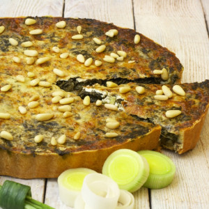 Spinach and Leek Flan (Gluten and Dairy Free)