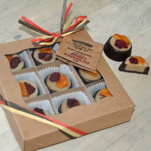 Marzipan chocolates, no added sugar, gift box, made in UK with British honey only, raw & clean