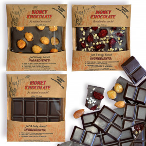 Honey Chocolate made with raw honey & organic cacao, no added sugar, 75%, 50gx3